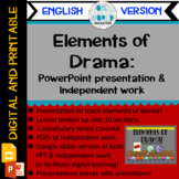 Elements of Drama: Powerpoint Lesson and Practice Work ENG
