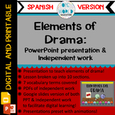 Elements of Drama: Powerpoint Lesson and Practice Work SPA