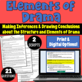 Elements of Drama Practice: 2 Scripts with Comprehension Questions