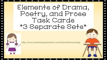 Elements of Drama, Prose, and Poetry Task Cards