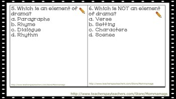 Elements of Drama Task Cards