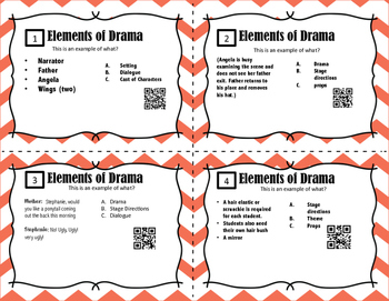 Drama Task Cards With QR Codes