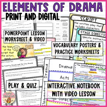 Elements of Drama Unit Interactive Notebook Video Lesson Comprehension DIGITAL