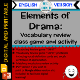 """Elements of Drama: Vocab Review Game """"TAP IT"""" & Match Up a"""