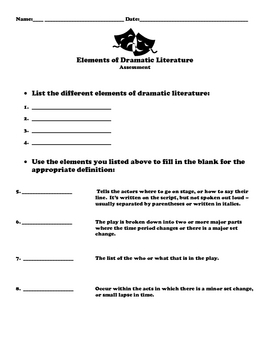 Elements of Dramatic Literature Assessment