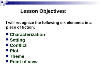 Elements of Fiction: 40 Slide PowerPoint