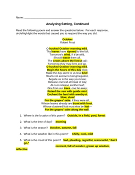Elements of Fiction: Analyzing Setting Practice Sheet