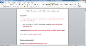 Elements of Fiction Binder Notes and Lecture Answers