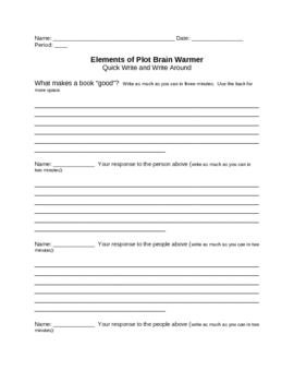 Elements of Fiction: Brain Warmer Quick Write and Write Around