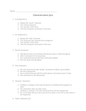Elements of Fiction: Characterization Quiz