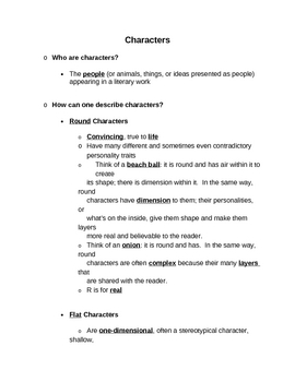 Elements of Fiction: Characterization Unit Materials All-in-One DEAL