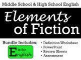 Elements of Fiction - Editable Worksheet, PowerPoint, Review, & Test BUNDLE