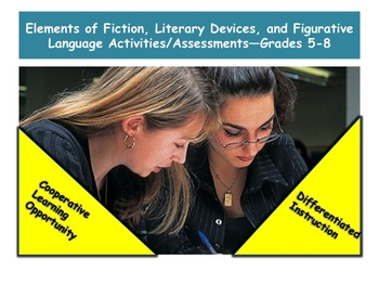 Elements of Fiction, Literary Devices, Figurative Language Assessments—Gr 5-8