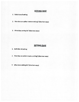 Elements of Fiction Note-Taking Sheets, Quizzes, and Activities for Students