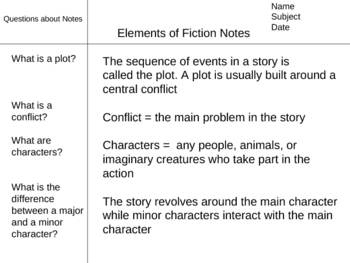 Elements of Fiction Powerpoint Lecture