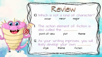 Elements of Fiction Quiz Freebie