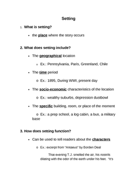 Elements of Fiction: Setting Guided Notes