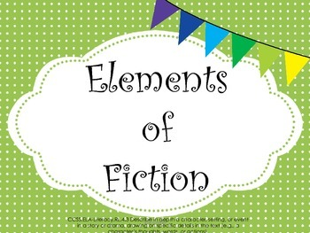 Elements of Fiction Slideshow, Graphic Organizers, and Question Stems