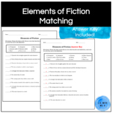 Elements of Fiction Terms/Vocabulary Matching Worksheet/Quiz