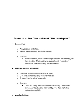 Elements of Fiction: The Interlopers Theme Analysis, Team Discussion