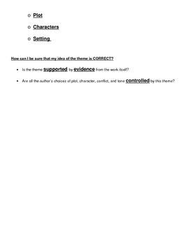 Elements of Fiction: Theme Simplified Guided Notes Plus Answers