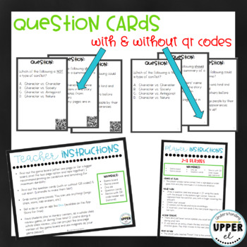 Elements of Fiction Themed Board Game - Multiple Choice Questions & Fun Emojis