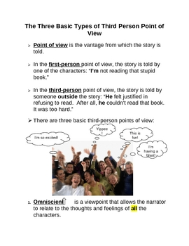 Elements of Fiction: Three Types of Third Person Point of View Handout