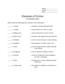 Elements of Fiction Vocabulary Test