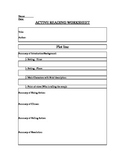 Elements of Fiction and Active Reading Worksheet