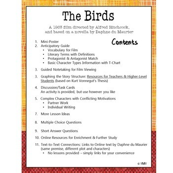 The Birds   Halloween Movie Study of the Elements of Fiction