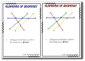 Math:  Elements of Geometry Task Cards Upper Grades Review Practice FUN!