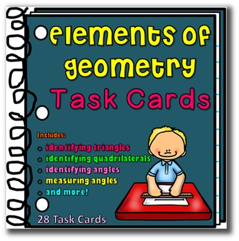 Math:  Elements of Geometry Task Cards Upper Grades Review