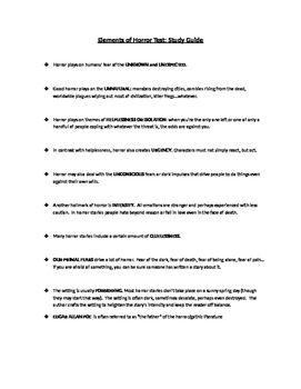 Elements of Horror/Gothic Literature test study guide