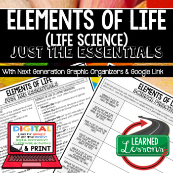 Elements of Life Just the Essentials Content Outlines Next Generation Science