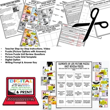 Elements of Life Picture Puzzle Study Guide Test Prep