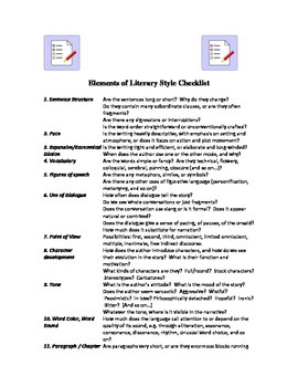 Elements of Literary Style Checklist