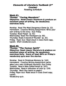 Elements of Literature (3rd Course) Reading Schedule