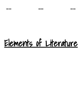 Elements of Literature Foldable