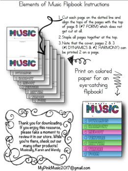 MUSIC Elements Flip-Book: Dynamics/Melody/Rhythm/Form/Harmony/Timbre/Texture