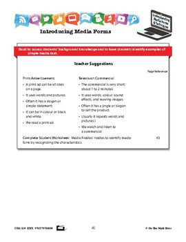 Elements of Media Forms Lesson Plan Gr. 2-3
