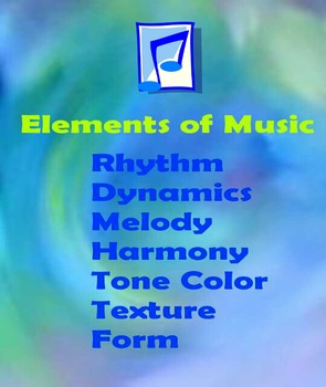 Elements of Music 2 Eight Notes Design Poster