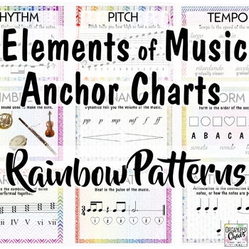 Elements of Music Anchor Charts: Rainbow Tribal Music Room Decor