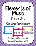 Elements of Music Posters (Primary) Ontario Music Curriculum