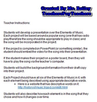 Elements of Music Project for Arts and Humanities