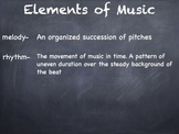 Elements of Music Vocabulary Slideshow