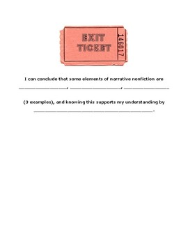 Elements of Narrative Non-Fiction Graphic Organizer and Exit Ticket