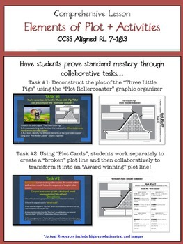 Elements of Plot Bundle - PREZI, Student Note Packet, Activities, Task Cards