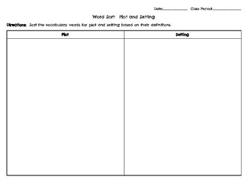 Elements of Plot and Setting Word Sort