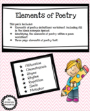 elements of poetry worksheet teachers pay teachers. Black Bedroom Furniture Sets. Home Design Ideas