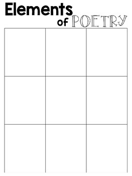 Elements of Poetry Anchor Chart and Graphic Organizer
